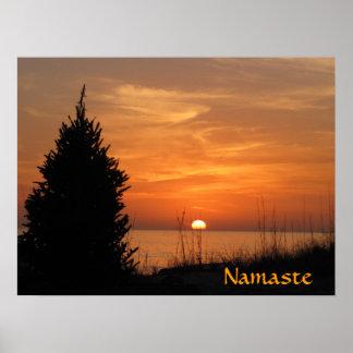 Puesta del sol del naranja de Namaste Póster