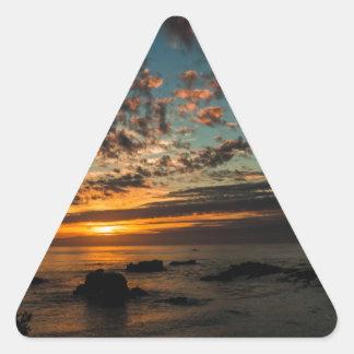Puesta del sol del navidad pegatinas triangulo personalizadas