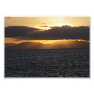 Puesta del sol del océano cojinete