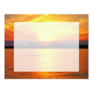 """Puesta del sol del océano con RSVP plano cubierto Invitación 4.25"""" X 5.5"""""""