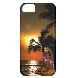 Puesta del sol del océano de la palmera con el chi funda para iPhone 5C