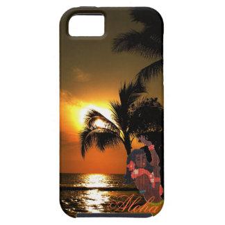 Puesta del sol del océano de la palmera con el iPhone 5 funda