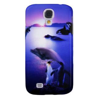 Puesta del sol del océano de los pingüinos de los  funda para galaxy s4