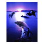 Puesta del sol del océano de los pingüinos de los  plantilla de membrete