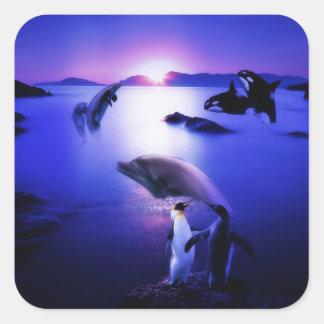 Puesta del sol del océano de los pingüinos de los pegatina cuadradas personalizadas