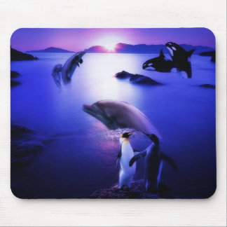 Puesta del sol del océano de los pingüinos de los  tapete de ratón