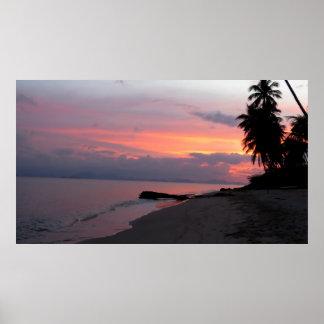 Puesta del sol del océano de Samui de la KOH en Póster