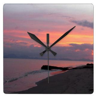 Puesta del sol del océano de Samui de la KOH en Reloj Cuadrado