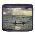 Puesta del sol del océano fundas para iPads