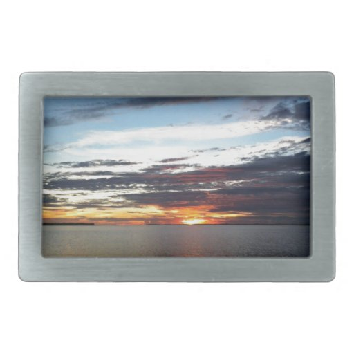 Puesta del sol del océano hebillas cinturon rectangulares