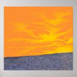 Puesta del sol del océano impresiones