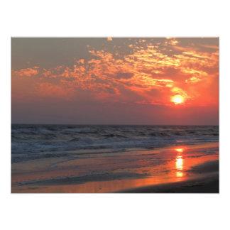 Puesta del sol del océano - isla del roble, NC Arte Fotografico