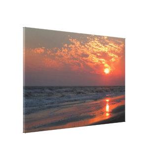 Puesta del sol del océano - isla del roble, NC Lienzo Envuelto Para Galerías
