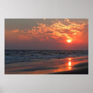 Puesta del sol del océano - isla del roble, NC Poster