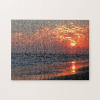 Puesta del sol del océano - isla del roble, NC Puzzle Con Fotos