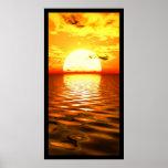 Puesta del sol del océano poster