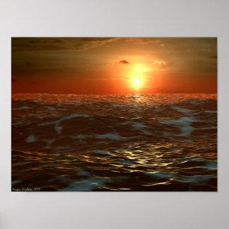 Puesta del sol del océano póster