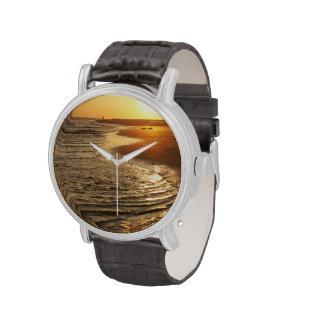 Puesta del sol del océano relojes de mano
