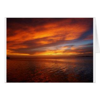 Puesta del sol del océano tarjetas
