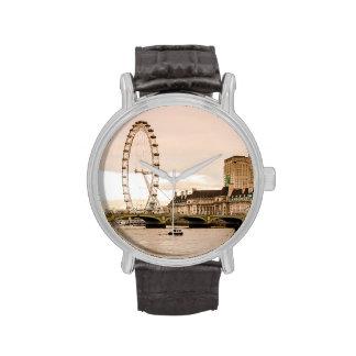 Puesta del sol del ojo de Londres Relojes De Mano