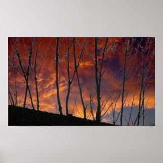 Puesta del sol del oro del otoño en el país póster