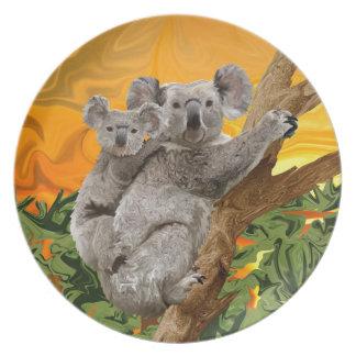 Puesta del sol del oso de koala plato