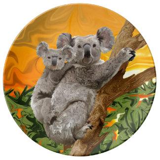 Puesta del sol del oso de koala platos de cerámica