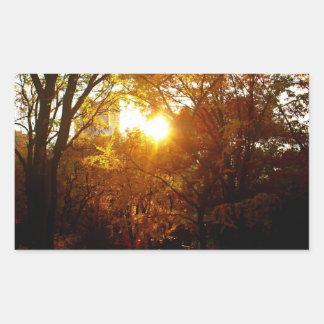 Puesta del sol del otoño pegatina rectangular