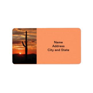 Puesta del sol del paisaje de Arizona Etiqueta De Dirección