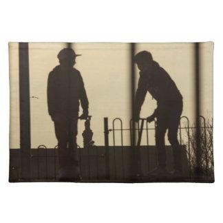 Puesta del sol del parque del monopatín manteles individuales