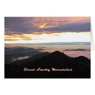 Puesta del sol del pastel de Great Smoky Mountains Tarjeta De Felicitación