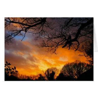 Puesta del sol del pleno invierno - tarjeta de