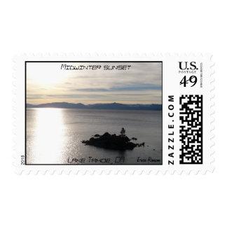 Puesta del sol del pleno invierno timbres postales