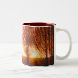 Puesta del sol del pleno verano tazas de café