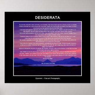 Puesta del sol del poema de los desiderátums póster