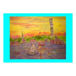 puesta del sol del pueblo de Nueva Inglaterra Tarjetas De Visita Grandes