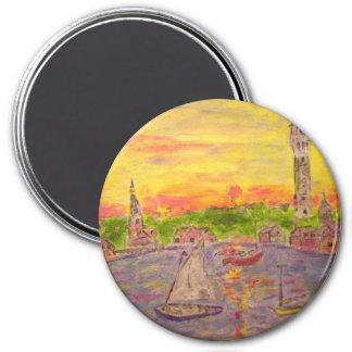 puesta del sol del pueblo del arte imán redondo 7 cm