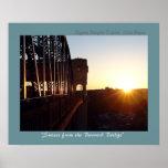 Puesta del sol del puente de Burrard Poster