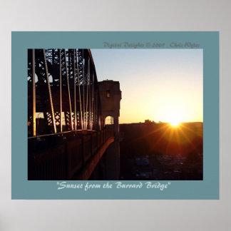Puesta del sol del puente de Burrard Póster