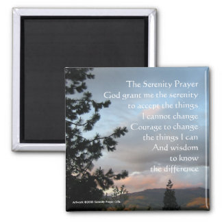Puesta del sol del rezo de la serenidad imán de frigorifico