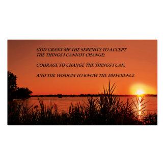 Puesta del sol del rezo de la serenidad plantilla de tarjeta de negocio