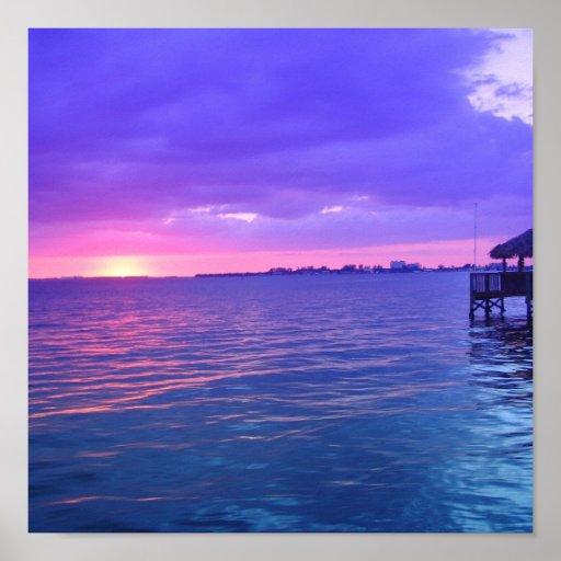 Puesta del sol del río de la Florida Poster