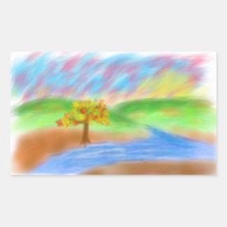 Puesta del sol del río del árbol de Digitaces Rectangular Pegatinas
