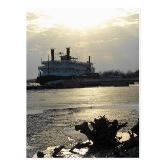 Puesta del sol del río Misisipi en invierno Postal