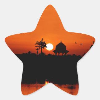 Puesta del sol del río Nilo Calcomania Forma De Estrella Personalizadas