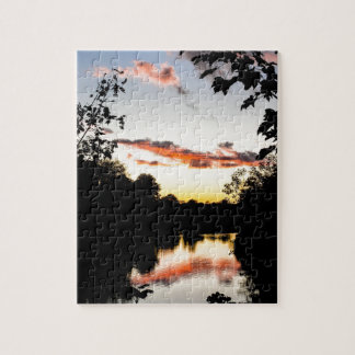 Puesta del sol del río puzzles