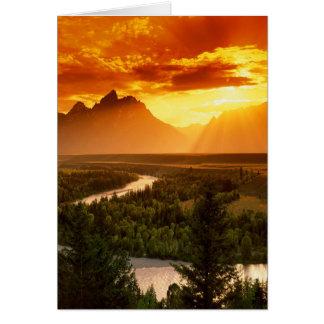 Puesta del sol del río Snake Tarjeta De Felicitación