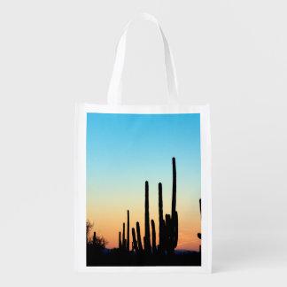 Puesta del sol del Saguaro Bolsas Para La Compra