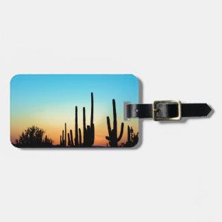 Puesta del sol del Saguaro Etiquetas De Equipaje
