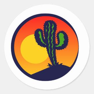 puesta del sol del saguaro pegatina redonda